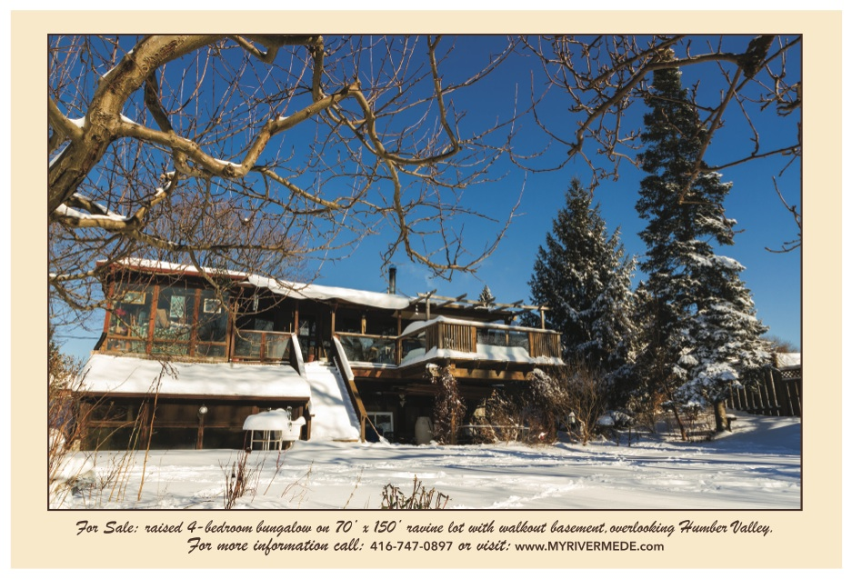"""This image was printed on the back of a postcard announcing the sale of My Rivermede, a """"cottage in the city"""" located at Weston Road and Sheppard."""